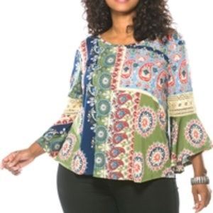 Tops - Boho Bell-sleeve Lace-inset Plus-size Blouse